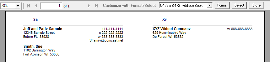 address book format