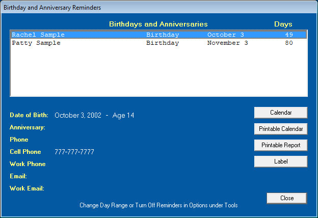 Birthday and Anniversary Reminders