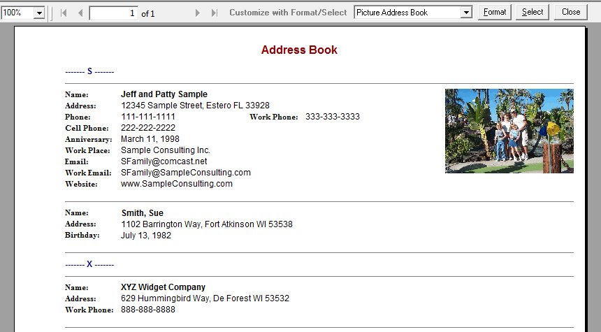 Picture Address Book