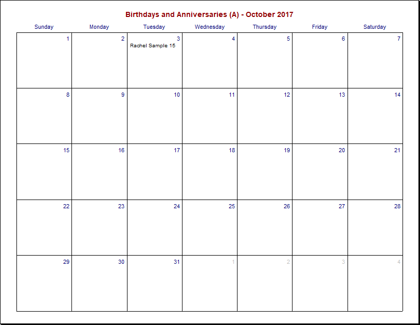 Printable Birthday and Anniversary Calendar